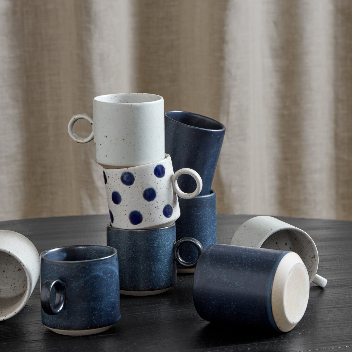 Grainy cup dark blue, set of 4