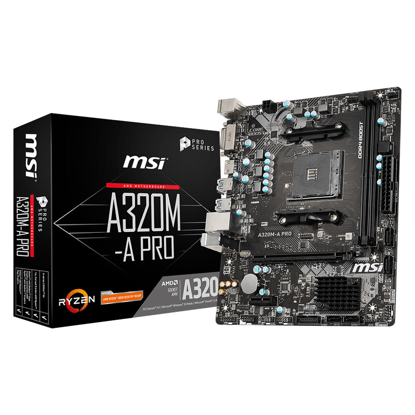 MSI A320M-A PRO - Carte mère Micro ATX Socket AM4 AMD A320 - 2x DDR4 - SATA 6Gb/s - 1x PCI-Express 3.0 16x