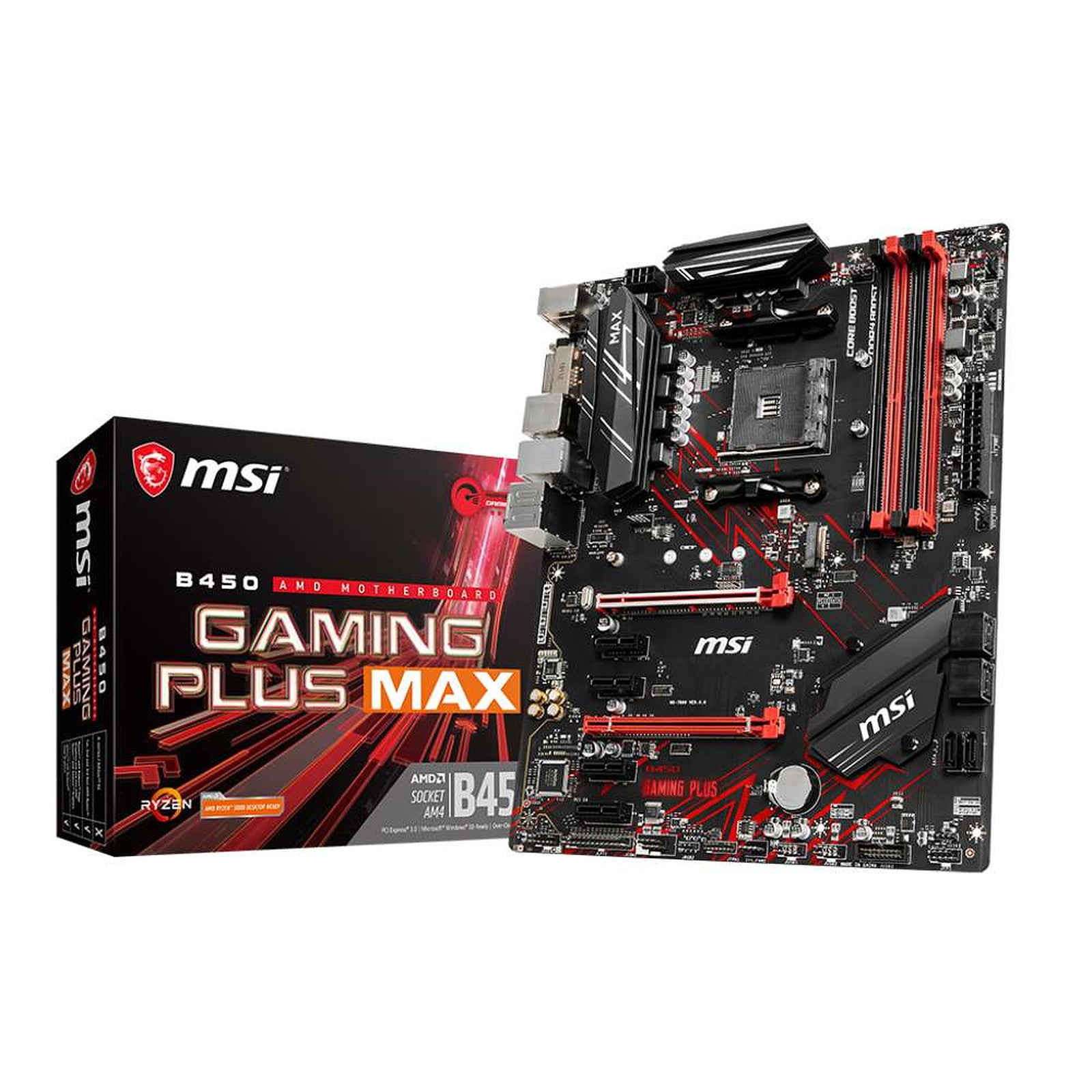 MSI B450 GAMING PLUS MAX - Carte mère ATX Socket AM4 AMD B450 - 4x DDR4 - SATA 6Gb/s + M.2 - USB 3.1 - 1x PCI-Express 3.0 16x + 1x PCI-Express 2.0 16x