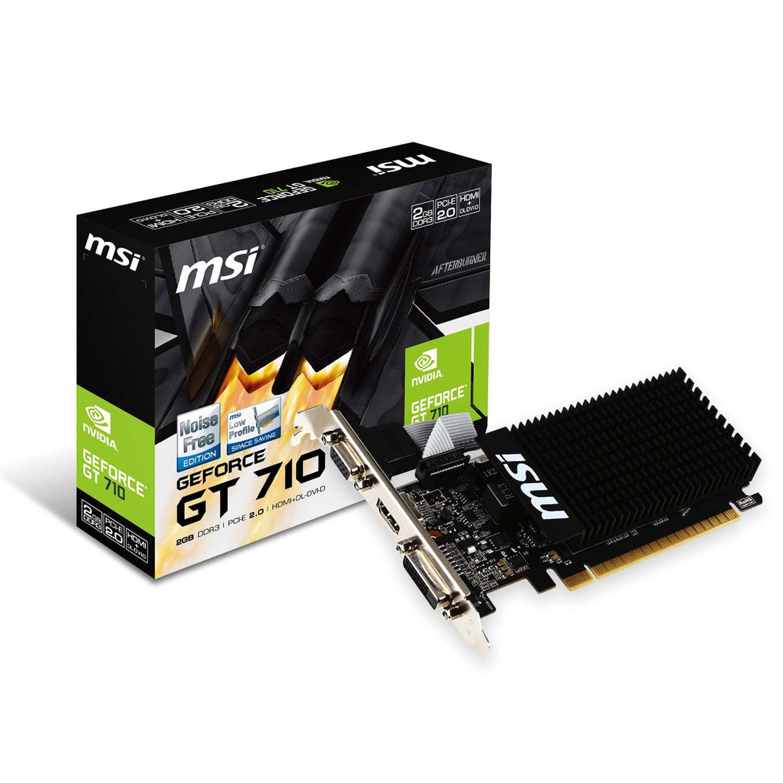 MSI GeForce GT 710 2GD3H LP - 2 Go HDMI/DVI - PCI Express (NVIDIA GeForce avec CUDA GT 710)