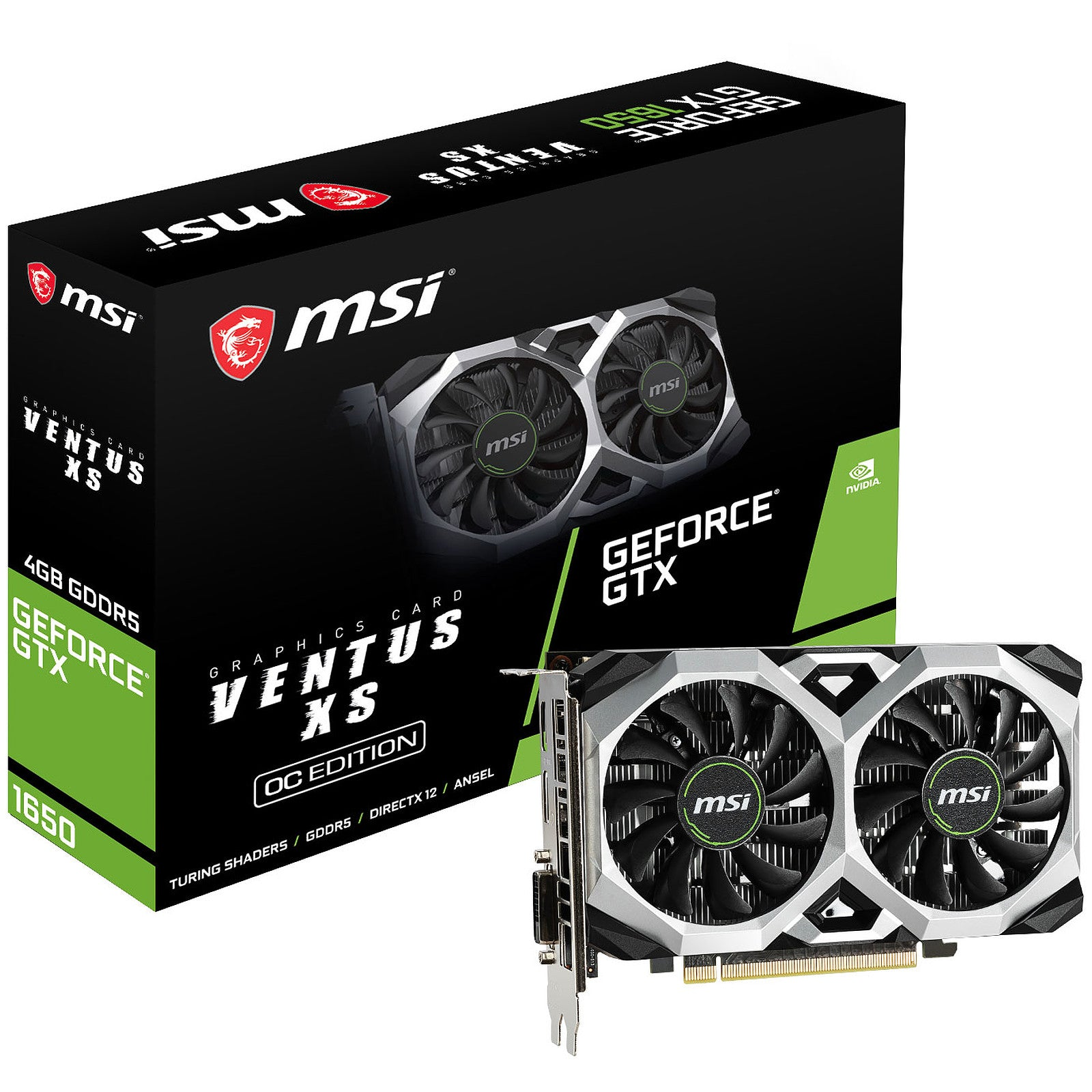 MSI GeForce GTX 1650 VENTUS XS 4G OC - 4 Go GDDR5 - HDMI/DisplayPort/DVI - PCI Express (NVIDIA GeForce GTX 1650)