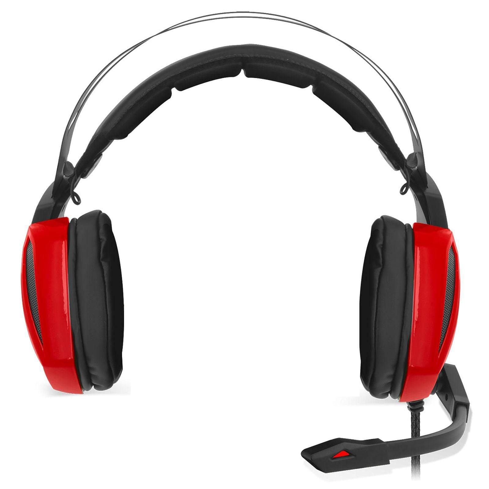 Spirit of Gamer Xpert-H100 Red Edition - Casque-micro pour gamer son surround 7.1 virtuel et rétro-éclairage rouge (USB / PC) Casque Gaming