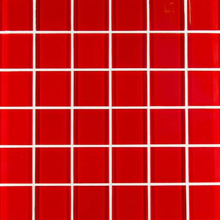 "Red Glacier | Mosaic Glass Tile 2""x2"""