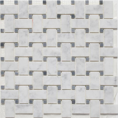 "Basketweave | White Marble / Spain Grey Dot | Polished | 12""x12"" Sheet"