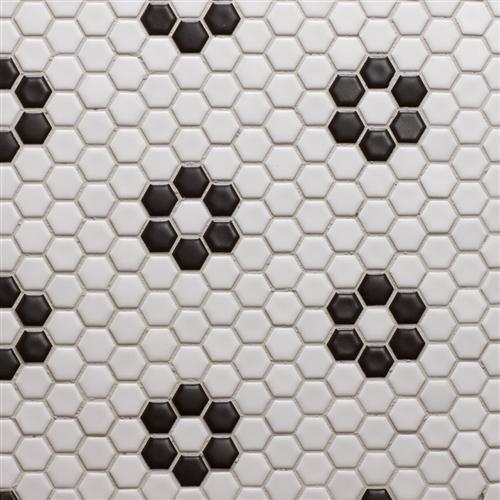 Glazed Porcelain 1 Inch Hexagon | White with Black Rose Pattern