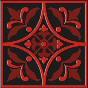 "Bonne Ville | Decorative Tile | Red on Black 8""x 8"" 