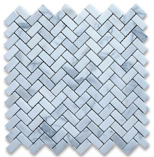 Herringbone Mosaic | Bianco Carrara | Polished - Mission Stone & Tile