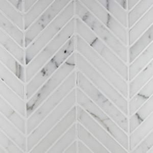 Chevron Mosaic | Calacatta Marble | Honed - Mission Stone & Tile