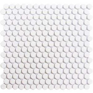 GetAround | White Penny Round Tile Glossy 3/4 | 12x12 Sheet - Mission Stone & Tile