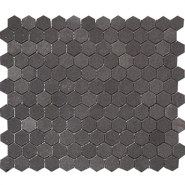 "Hexagon | Basalt | Honed | 1"" Pieces on 12x12 Sheet - Mission Stone & Tile"