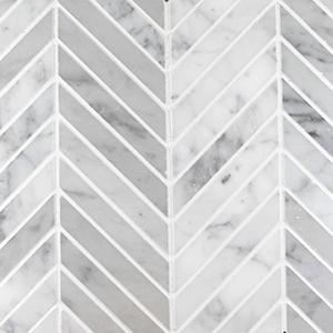 Chevron Mosaic | Bianco Carrara | Honed - Mission Stone & Tile