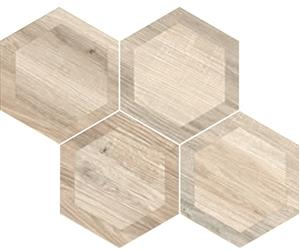 "Hexagon King White | Inlay | 8"" Wood Look Tile - Mission Stone & Tile"
