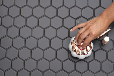 "Matte Porcelain 2"" Hexagon Mosaics 
