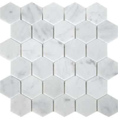 "Hexagon | Bianco Carrara | Polished 3"" - Mission Stone & Tile"