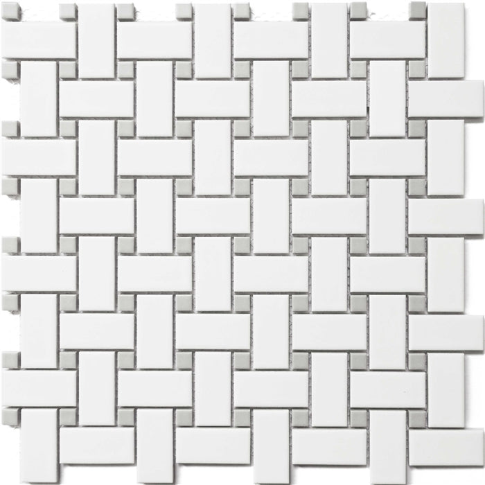 Basketweave | Ceramic White and Grey Dot - Mission Stone & Tile