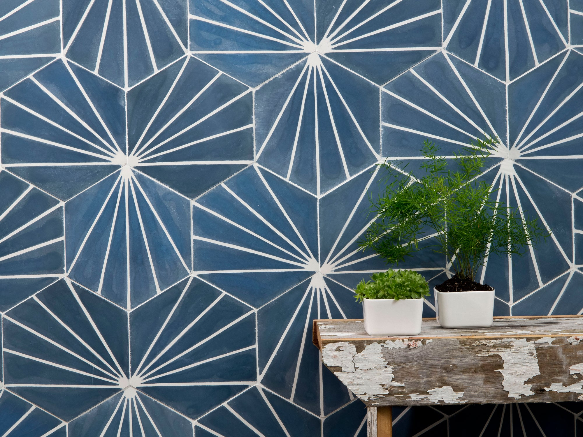 Cement Tiles | Electra Ultra Marine Bone | Cement Hexagon Tile