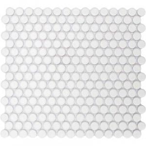 GetAround Penny Round Mosaic Tile | White | Matte Finish | 12x12 Sheet - Mission Stone & Tile