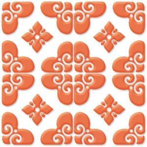 "Bonne Releve | Decorative Tile | Orange on White 8""x8"" 