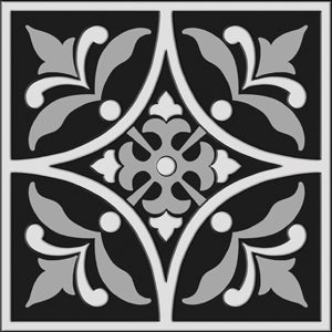 Bonne Ville | Decorative Tile | White on Black 8x 8 - Mission Stone & Tile