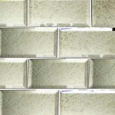 "Antiqued Mirror Glass Tile | Beveled 3""x6"""