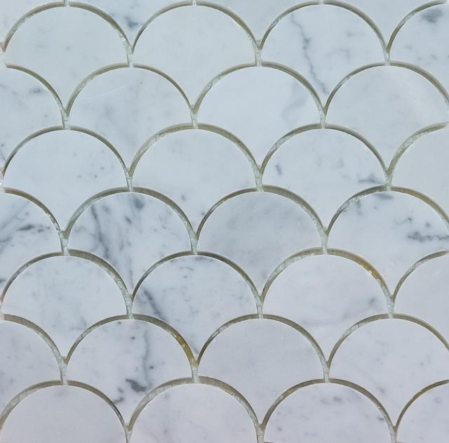 Curve Appeal | Bianco Carrara Large | Stone Mosaic for Walls and Floors