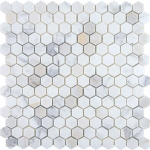 "Hexagon, Calacatta | Polished 1"" Stone Mosaic for Walls and Floors"