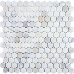 "Hexagon, Calacatta | Honed 1"" Stone Mosaic for Walls and Floors"