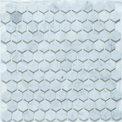 "Hexagon, Bianco Carrara | Honed 1"" Stone Mosaic for Walls and Floors"