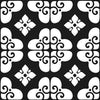 Bonne Releve | Decorative Tile | White on Black 8x8 - Mission Stone & Tile