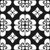 Bonne Releve | Decorative Tile | White on Black 8x8 - Sample - Mission Stone & Tile