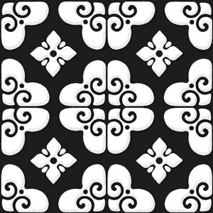 "Bonne Releve | Decorative Tile | White on Black 8""x8"""