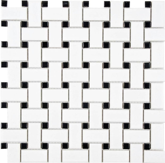 Basketweave | Ceramic White and Black - Mission Stone & Tile