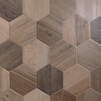 "Hexagon King Nut | Plain | 8"" Wood Look Tile"