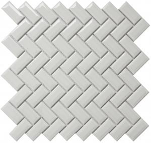 Glazed Porcelain | Mini Herringbone Slight Beveled Edge, White - Mission Stone & Tile
