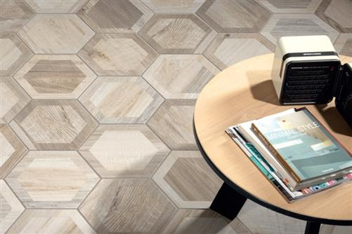 "Hexagon King Nut | Inlay | 8"" Wood Look Tile"