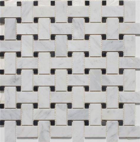 Basketweave | Bianco Carrara / Black Dot | Polished - Mission Stone & Tile
