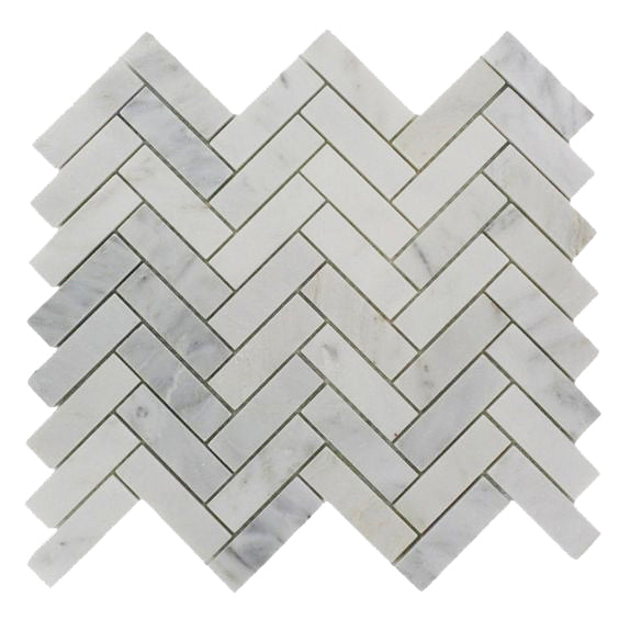 Herringbone Mosaic | Oriental White | Polished 1x3 - Mission Stone & Tile