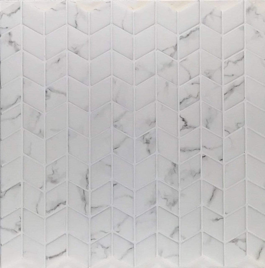 "Calacatta Chevron Glass| Recycled Sintered Glass | White |1/4"" X 1"""