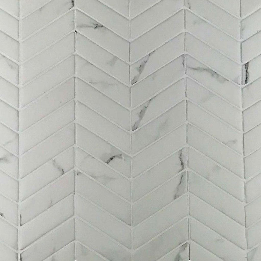 "Calacatta Chevron Glass| Recycled Sintered Glass | White | 3/4"" X 2-1/4"" - Mission Stone & Tile"