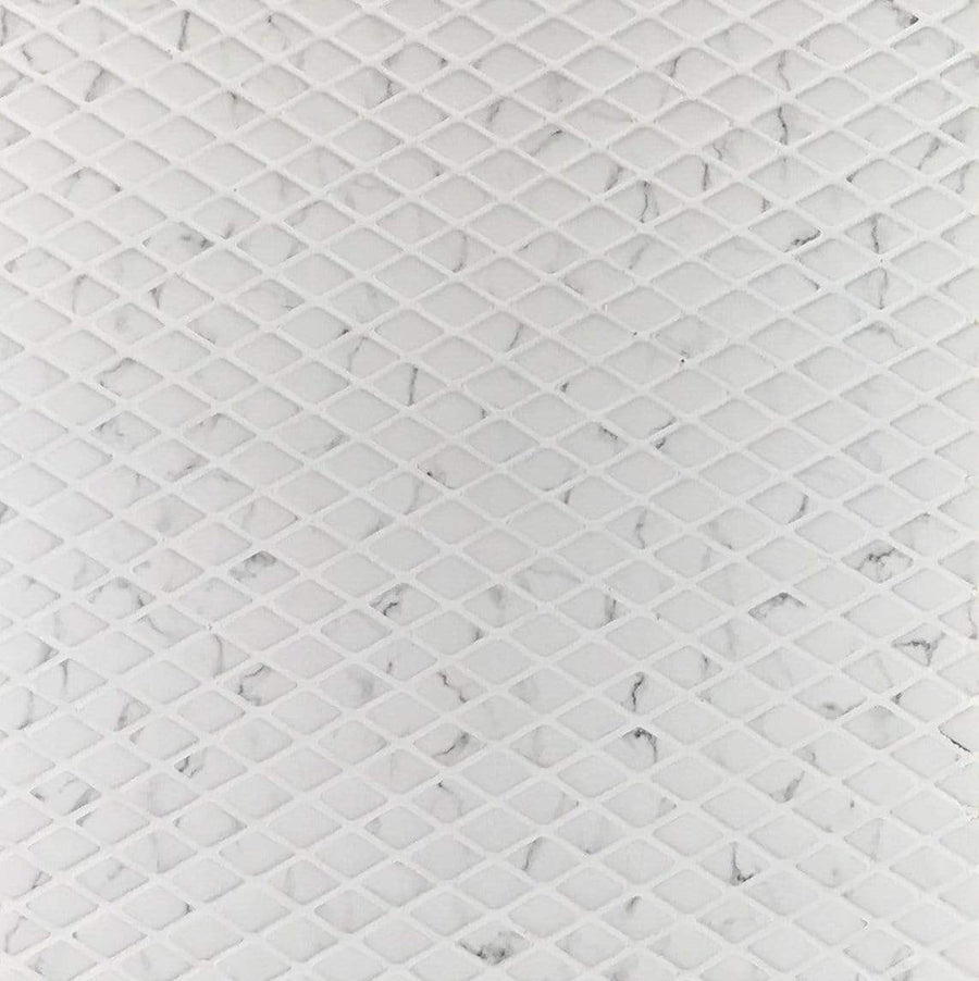 "Calacatta Rhombus Mosaic | Recycled Sintered Glass | White | 1/4"" X 1/2"" - Mission Stone & Tile"