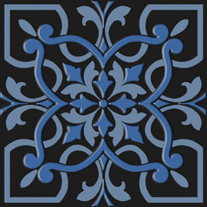 Bonne Ville | Decorative Tile | Blue on Black 8x 8 - Mission Stone & Tile
