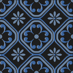 Bonne Ville | Decorative Tile | Blue on Black 8x 8