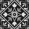 Bonne Ville | Decorative Tile | White on Black 8x 8