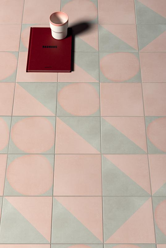 Futura Geometric Porcelain Tile for Walls and Floors / Drop / Rose