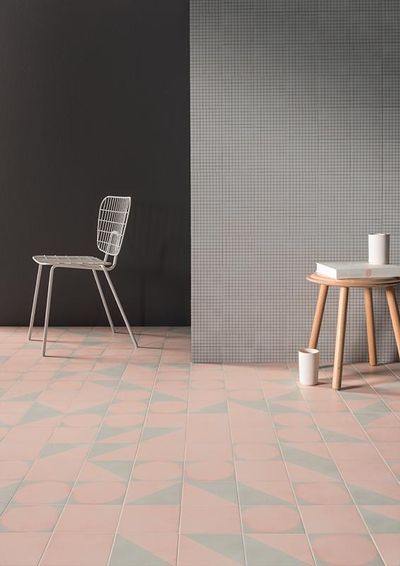 Futura Geometric Porcelain Tile for Walls and Floors / Half / Rose