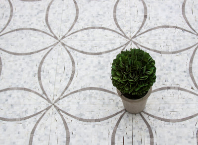 Interlocking Circles | White Marble | Grey Accent 12x12 Sheet - Mission Stone & Tile