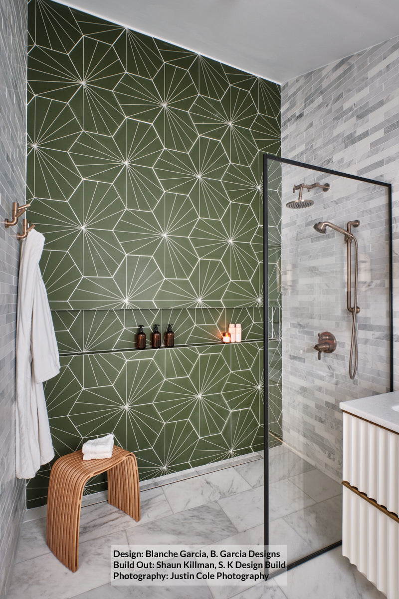 Electra Grande Green Galaxy | Porcelain Tile | 13.5 x 15.5 - Mission Stone & Tile
