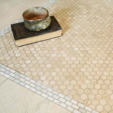 "Hexagon, Crema Marfil | Honed 1"" - Mission Stone & Tile"