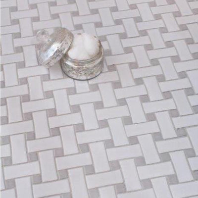 Basketweave | White Marble / Spain Grey Dot | Polished | 12x12 Sheet - Mission Stone & Tile