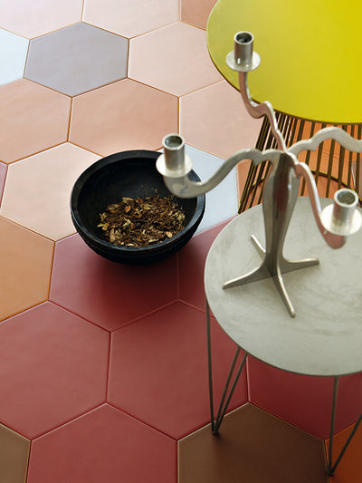 "Ines Hexagon Porcelain Tile | Tabacco 9"" - Mission Stone & Tile"